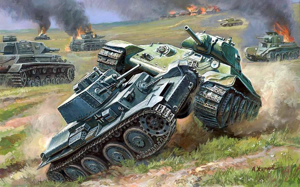 Танковый бой - советский Т-34 против немецкого PzKpfw II (Андрей Жирнов)