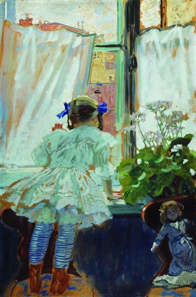 У окна. Портрет И.Б.Кустодиевой. 1910.jpg