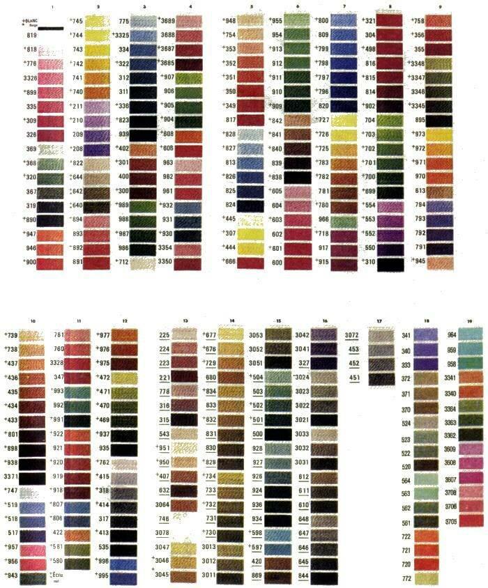 Таблица цветов вышивки крестов