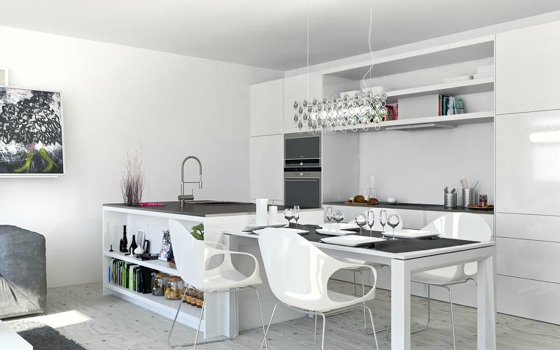 Белый цвет в интерьере кухни, фото 22