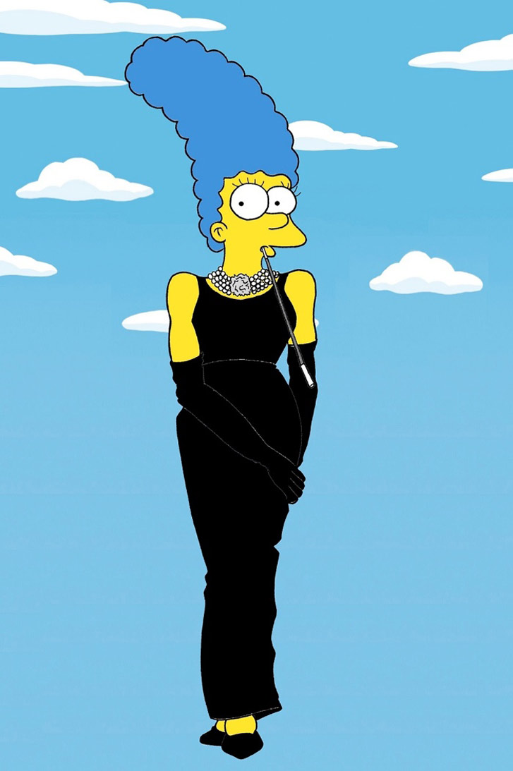 Marge Simpson as a Audrey Hepburn - Style Icons in aleXsandro Palombo illustrations