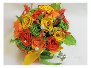 подборка работ, розы из атласных лент, рукоделки василисы