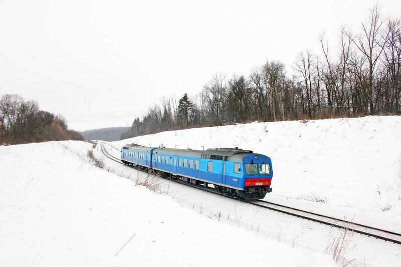 АЧ2-117 с поездом 6403/6444, Верховье — Орёл, перегон Дишня - Залегощь