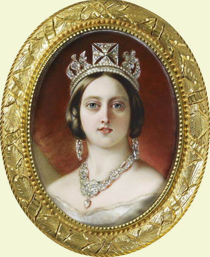 Уильям Эссекс (1784-1869) Королева Виктория (1819-1901)  Подпись и дата 1848 Эмаль на золото
