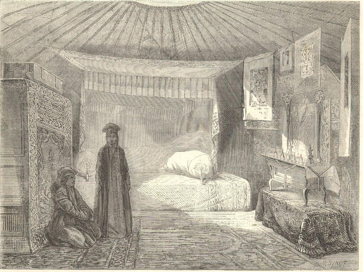 1860. Дагестан. Внутренний вид юрты калмыцкой принцессы