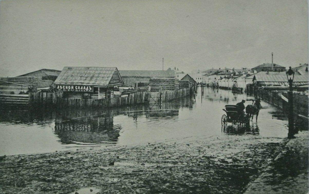 Наводнение в апреле 1908 года. У Дорогомиловского моста, Песковский пер