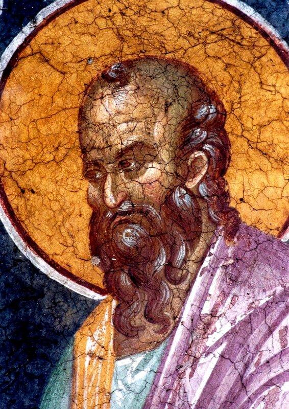 Святой Пророк Елисей. Фреска монастыря Грачаница, Косово, Сербия. Около 1320 года. Фрагмент.