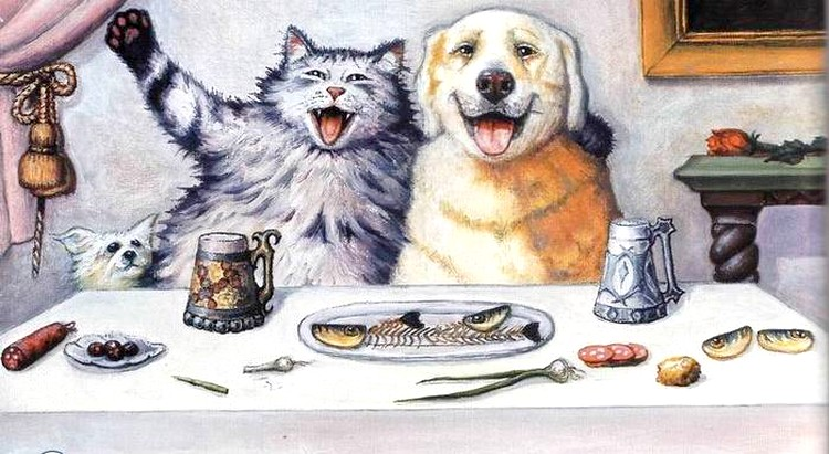 рисунок кота и собаки