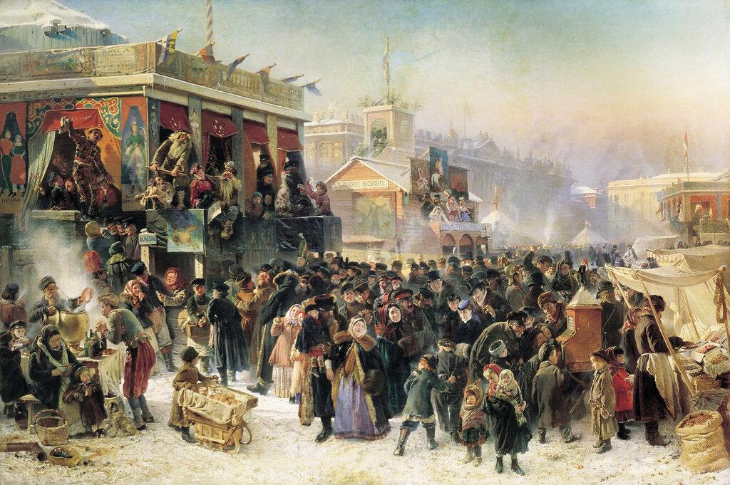 Народное гулянье во время Масленицы на Адмиралтейской площади в Петербурге. 1869, холст, масло, 2.jpg
