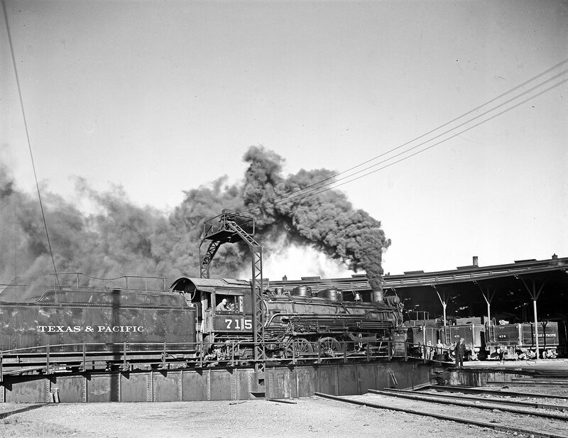 Locomotive 715 on Turntable, Texas & Pacific Railway Company, Marshall, Harrison County, Texas, ca. 1946