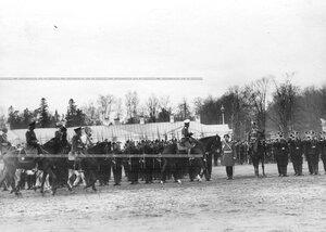 Император Николай II объезжает строй молодых солдат (призыва 1912года) 3-го стрелкового полка.