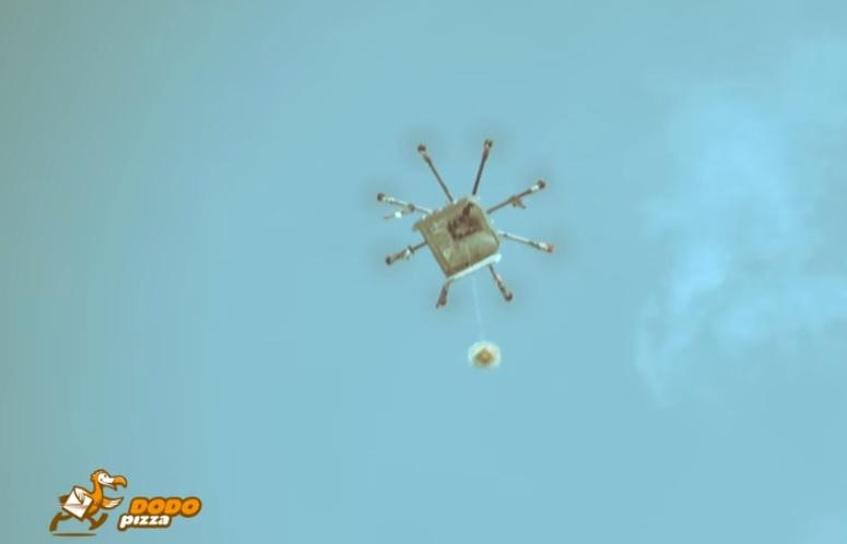 Летающий робот для пиццы в России