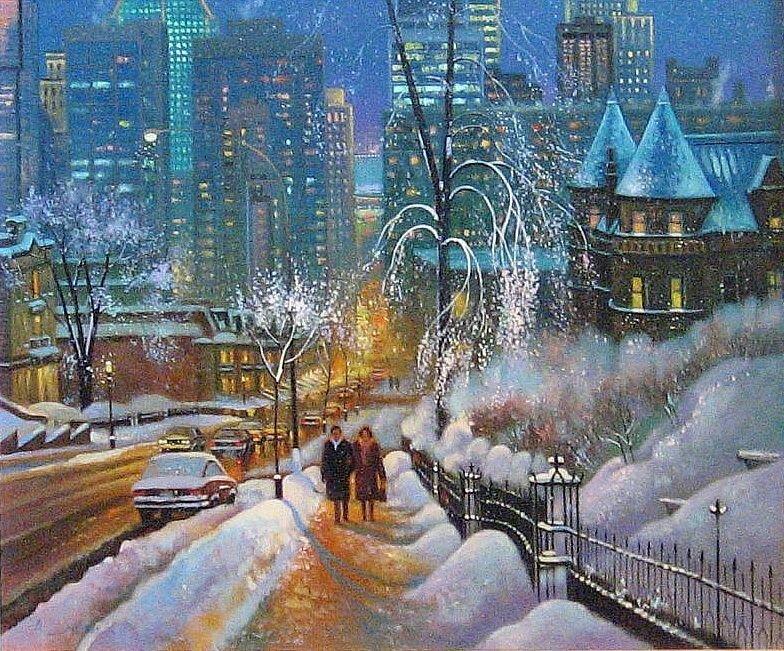 Картинки зима в городе для детей