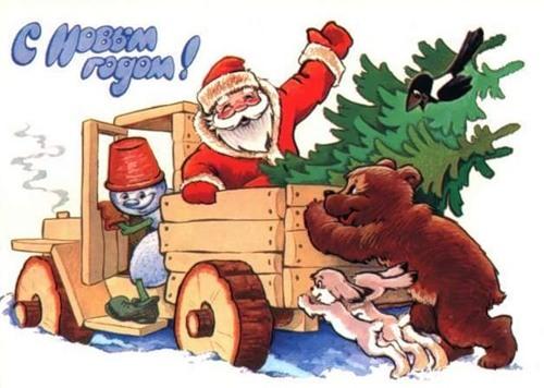 С Новым годом! Дед Мороз застрял на машине в лесу