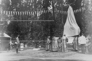 Император Николай II на торжественном богослужении по поводу открытия памятника шефу полка , великому князю Михаилу Николаевичу  .