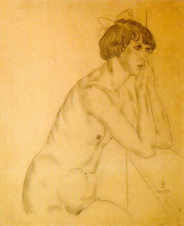 1927. Леонард (Цугухару) Фуджита. Кики с Монпарнаса с голубой лентой в волосах