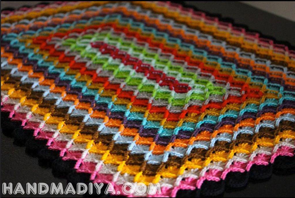Прямоугольный плед баварской вязкой  Plaid Bavarian knitting