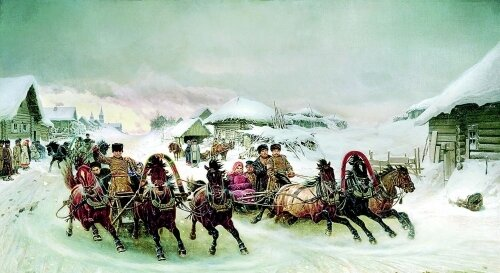 Масленичные катания на лошадях открытка поздравление картинка