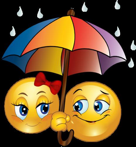 смайлики с зонтиком