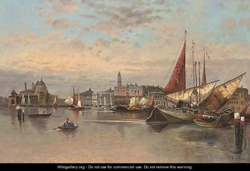 Trading vessels before the entrance to the Grand Canal, Venice