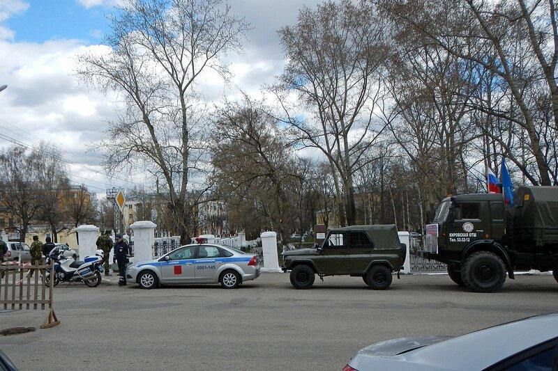 Автопробег Кировской ОТШ ДОСААФ в честь Дня Победы 7 мая 2014 - военная автоинспеция, мотоцикл и УАЗик