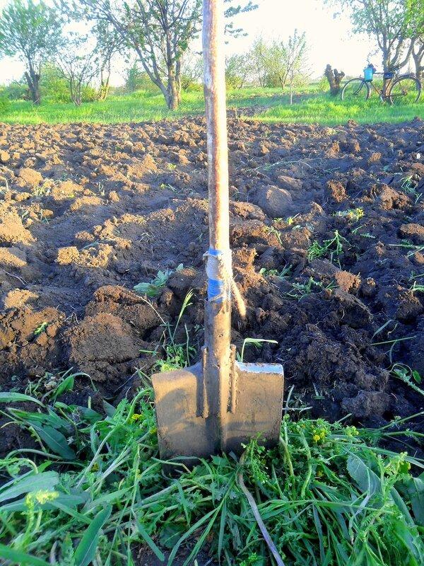 На земле, с лопатой