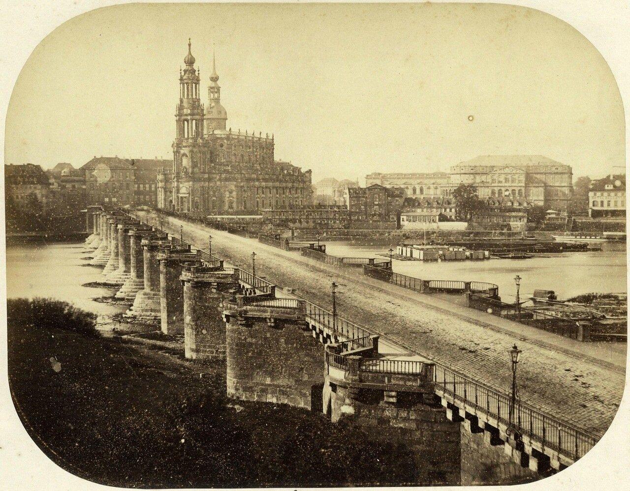 Дрезден. Панорама моста Августа. 1860