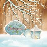 Vector Vintage Christmas Branch Lantern Background