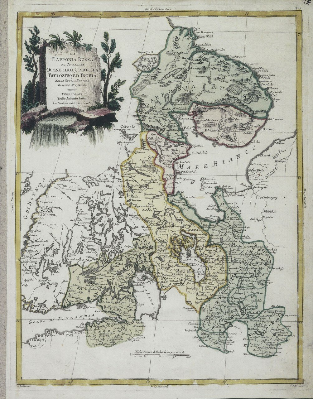 1782. Русская Лапландия с Олонецкой губернией, Карелией и Ингрией в европейской части России