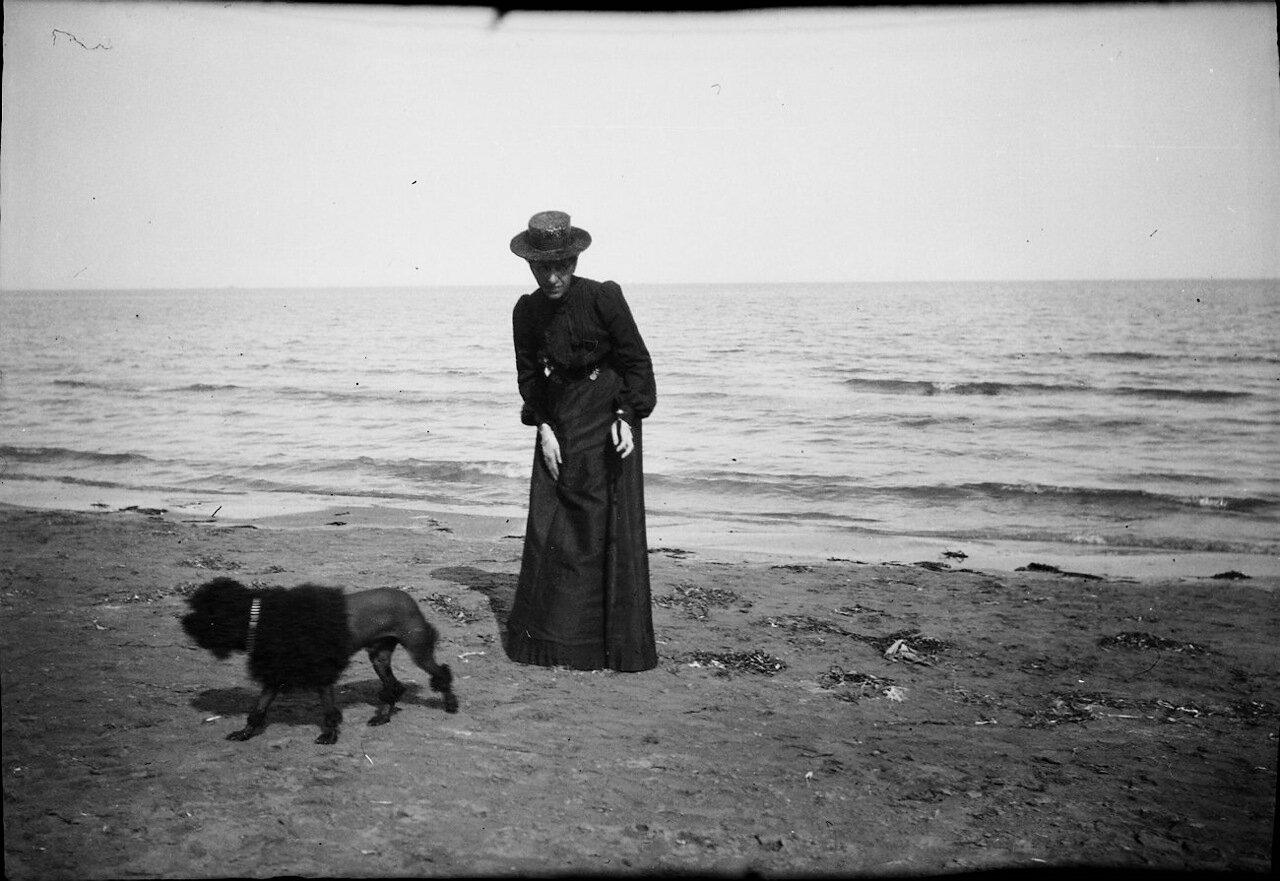 1900. Женщина с пуделем на пляже