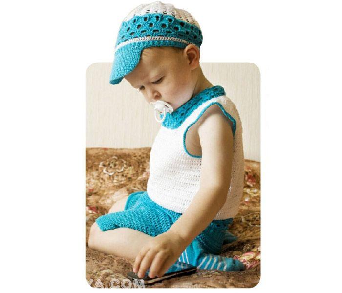 Вязаные маечка и шортики для малыша. Crochet: T-shirt and shorts for kid
