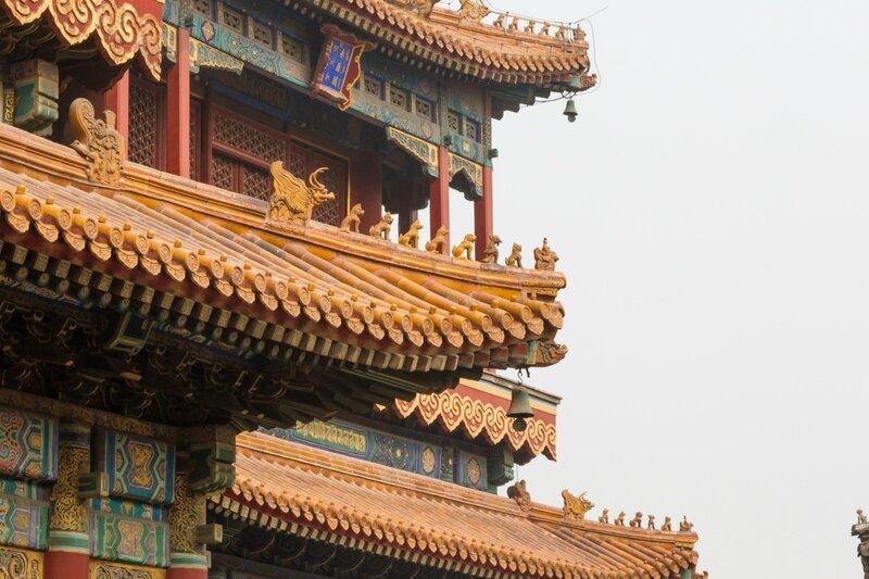 Крыши, монастырь Юнхэгун, Пекин