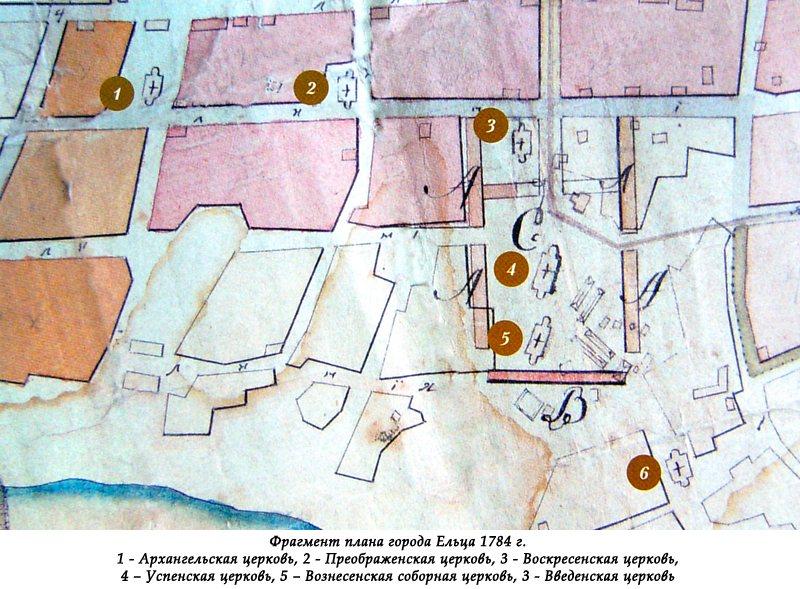 Фрагмент плана города Ельца 1784 г.