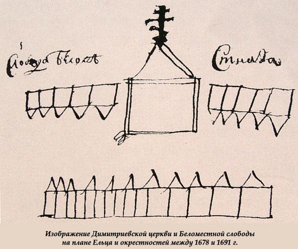 Димитриевская церковь и Беломестная слобода на плане Ельца