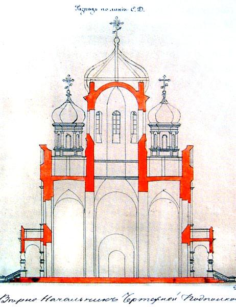 Разрез к проекту Христорождественской церкви