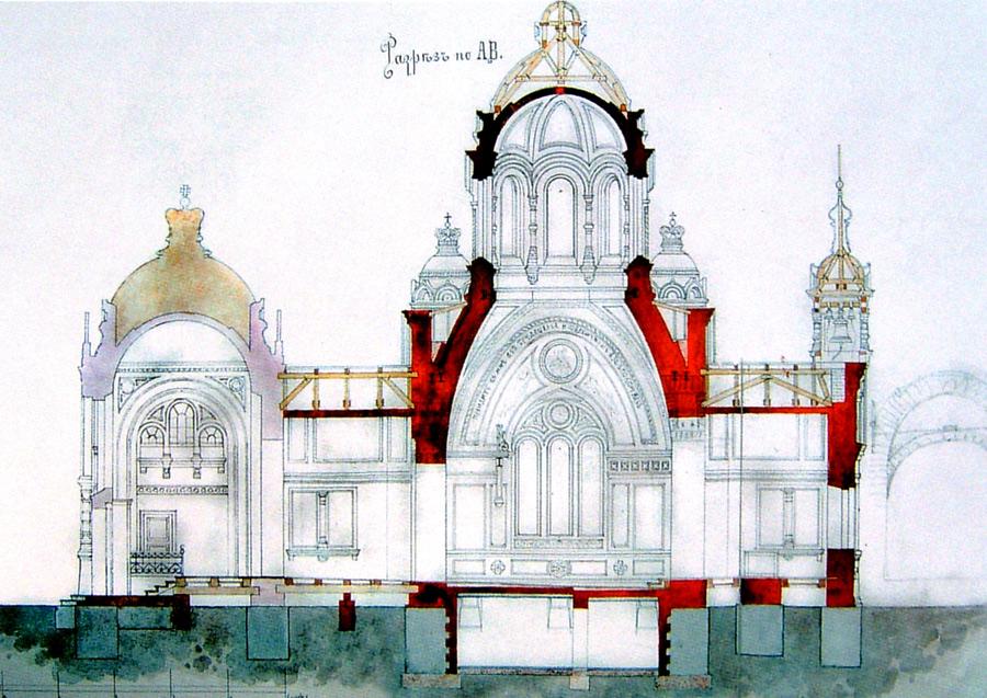 Проект Великокняжеского храма в разрезе