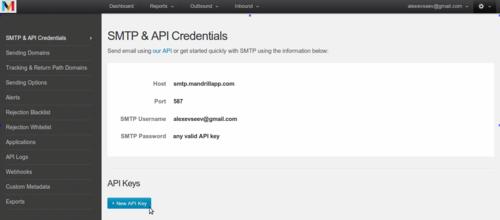Создаем API_KEY шаг 2