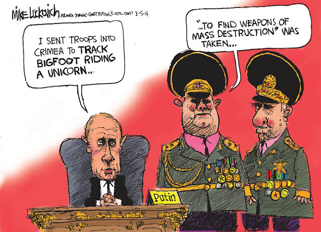 Troops to Crimea — Atlanta Journal-Constitution, March 5, 2014 © Mike Luckovich