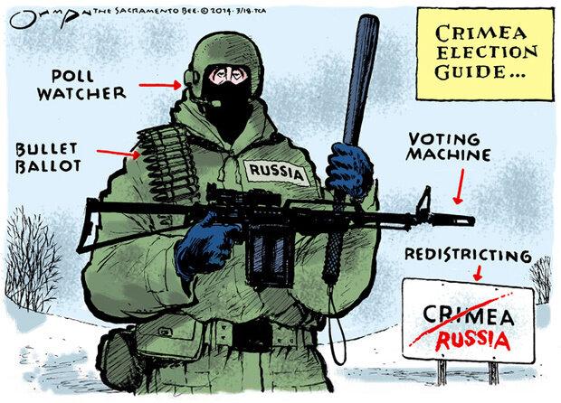 Crimea election guide — The Sacramento Bee, March 18, 2014 © Jack Ohman