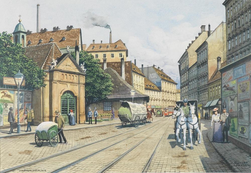 """Вид"""" Венской акварелью на бумаге, подписано Ричард Покорным под названием Шенбрунн линии"""