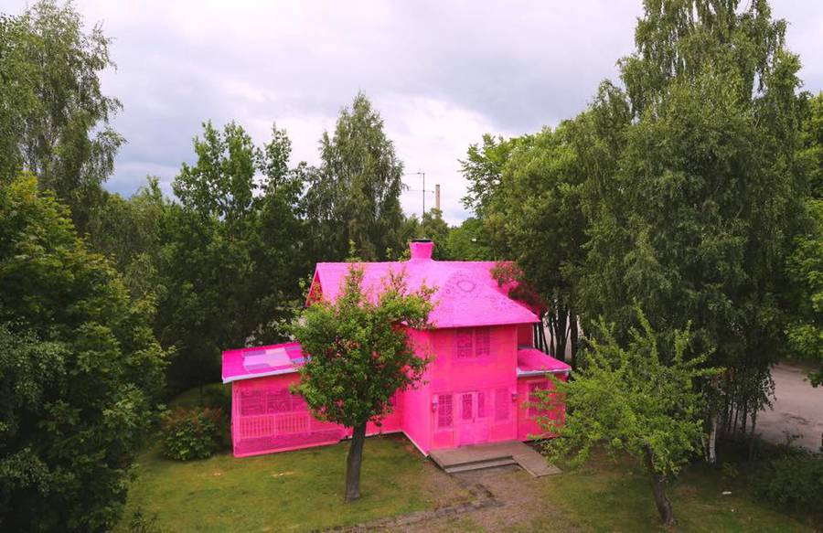 House in Finland Covered with Pink Crochet