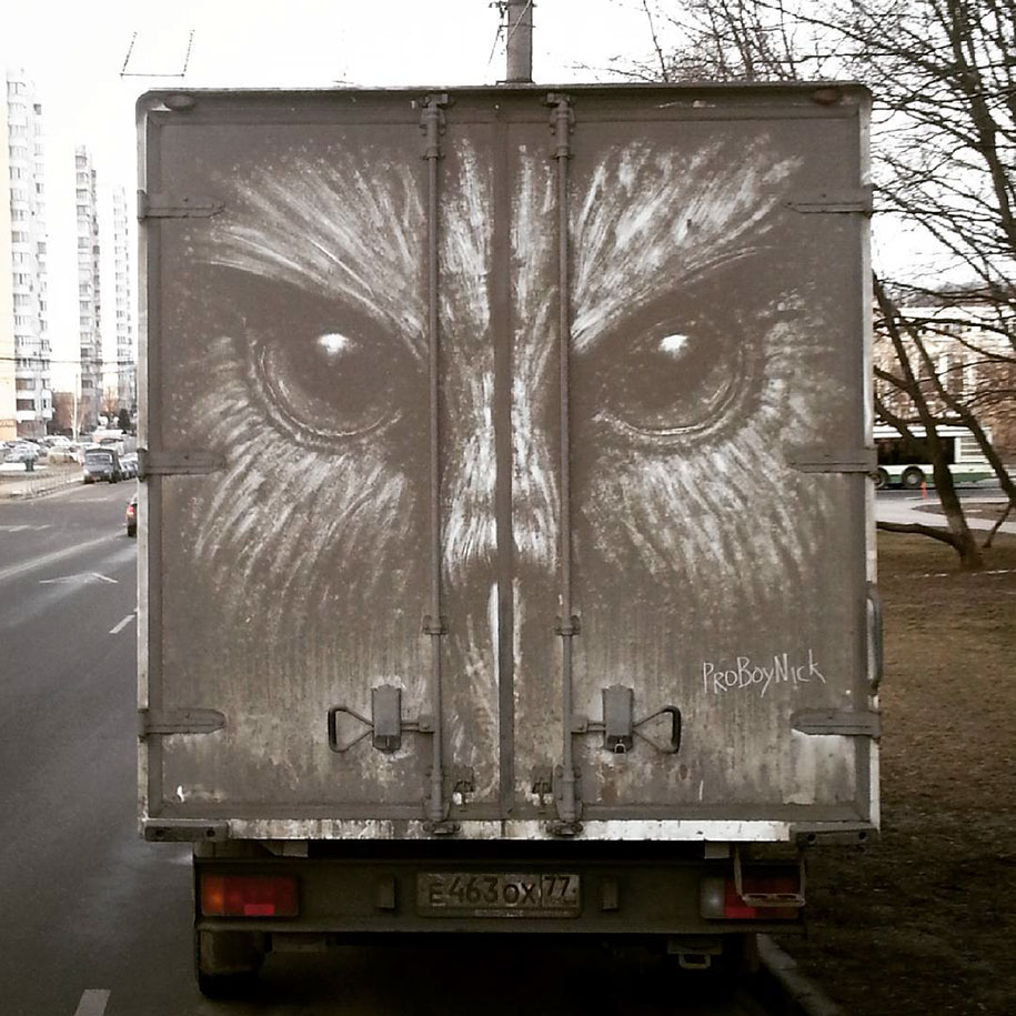 Alluring Drawings on Dirty Cars