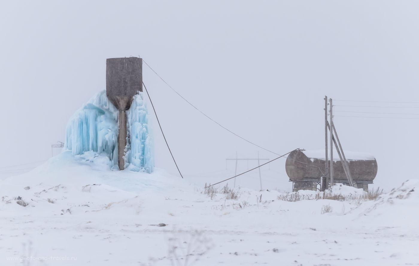 Фотография 4. Ледяной фонтан на Урале. (снято на телеобъектив Никкор 70-300 со следующими настройками: 1/2500 сек, f/4.8, 155 мм, 640)