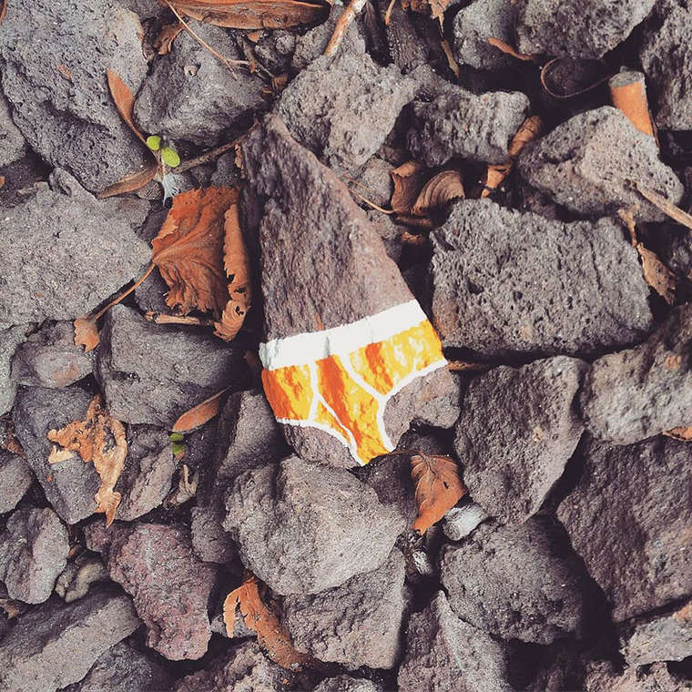 Original Sin - This street artist is painting colorful underwears in nature
