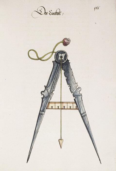Franz Helm, Büchsenmacher  Gunsmith, Buch von den probierten Künsten, Der Zirckell, 1535. Drawing