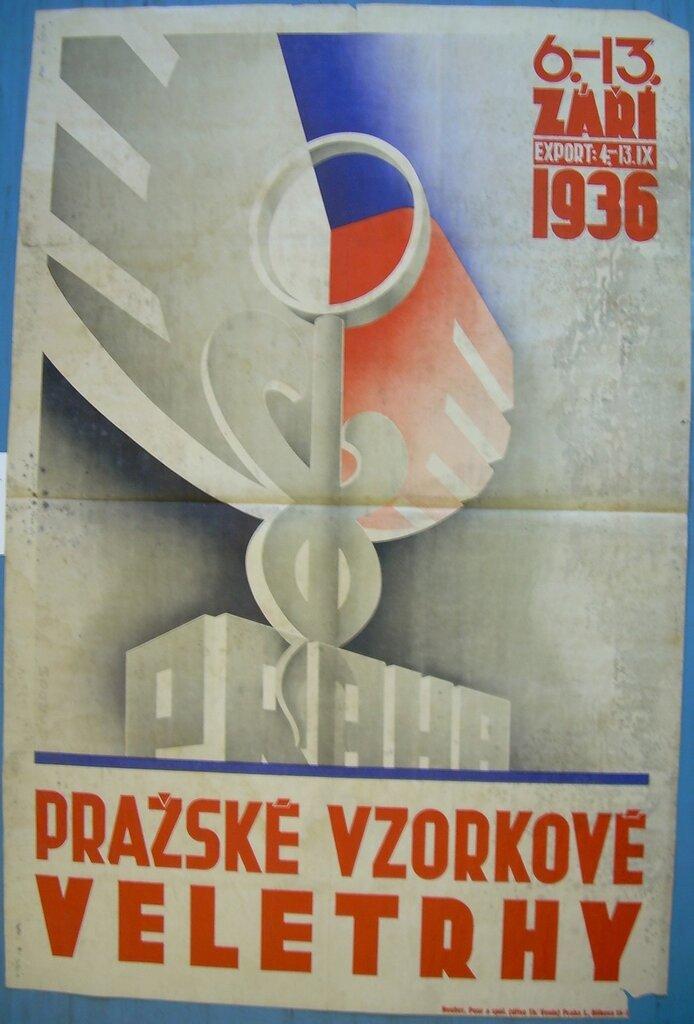 Tile:Plagát jesenného veľtrhu v Prahe, 1936Date:1936Description:Plagát jesenného veľtrhu v Prahe v roku 1936, farebný, vyobrazenie symbolu veľtrhu, s nápisom: 6. - 13. ZÁŘÍ 1936. PRAŽSKÉ VZORKOVÉ VELETRHY.Subject:Spoločenské vedy,ekonomika,výstavníc