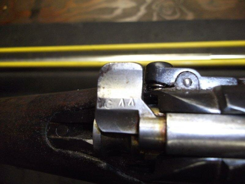 A photo of Loewe at the dealers just prior to shipping.Note the Turkish crescent moon and caret symbols on the bolt safety.  These characters appear on other parts of the bolt.  The bolt matches itself.