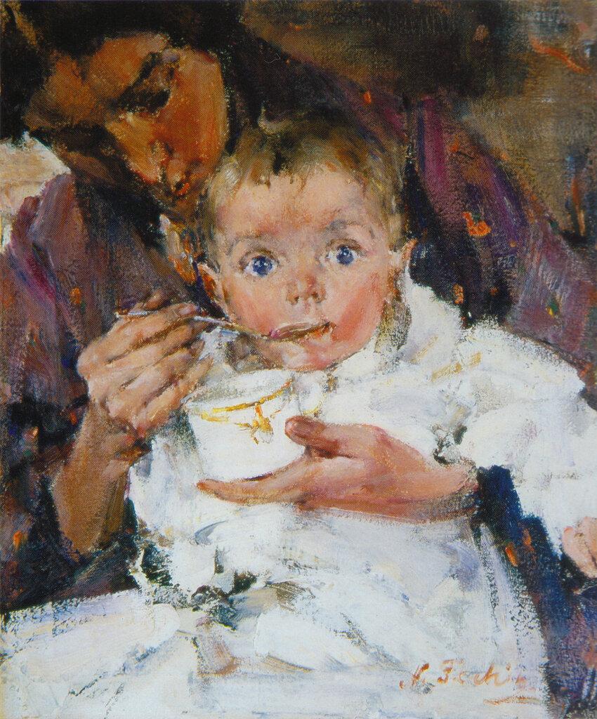 Мать и дитя (Портрет А.Н.Фешиной с дочерью) (1914).jpg