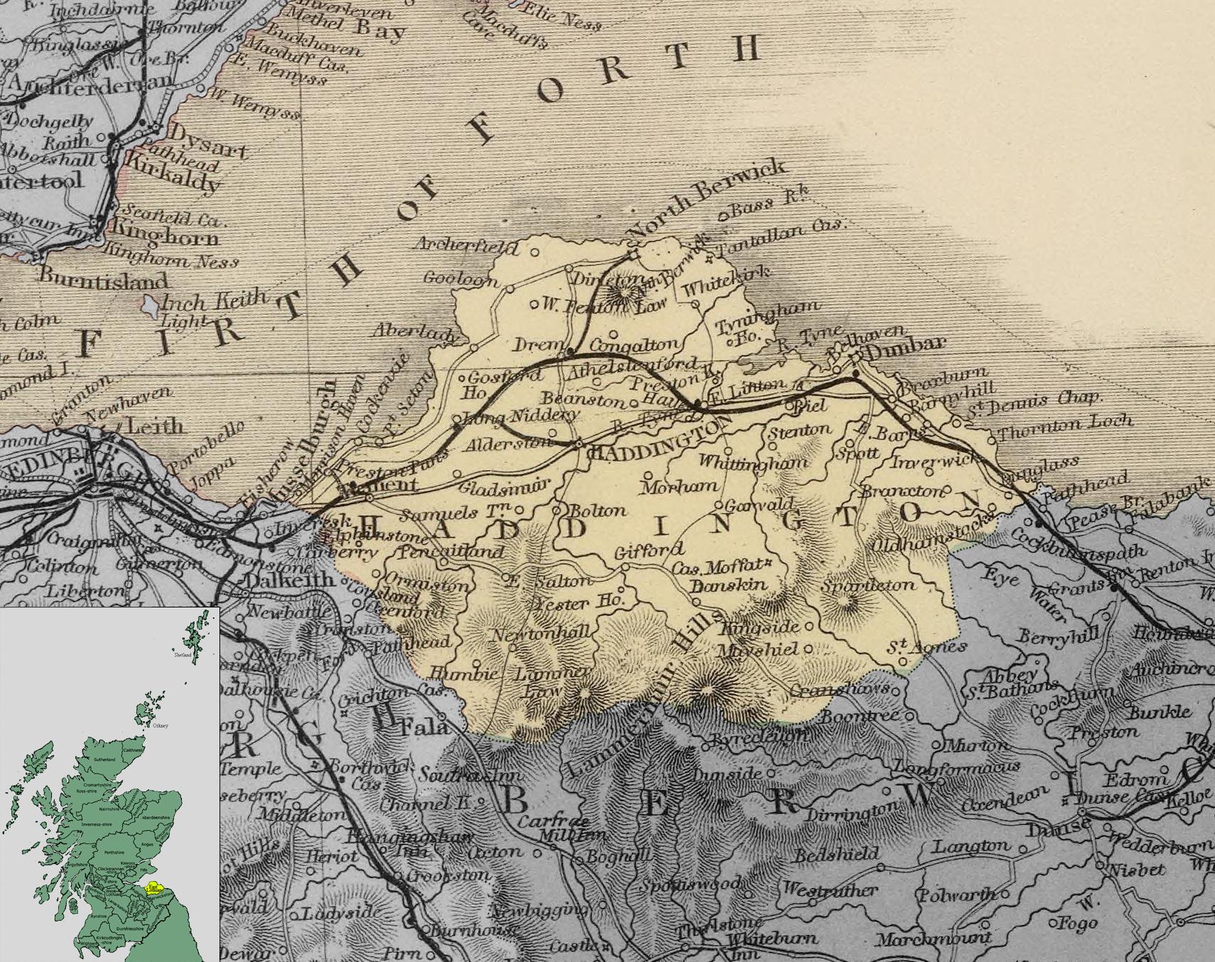 Карта Восточного Лотиана