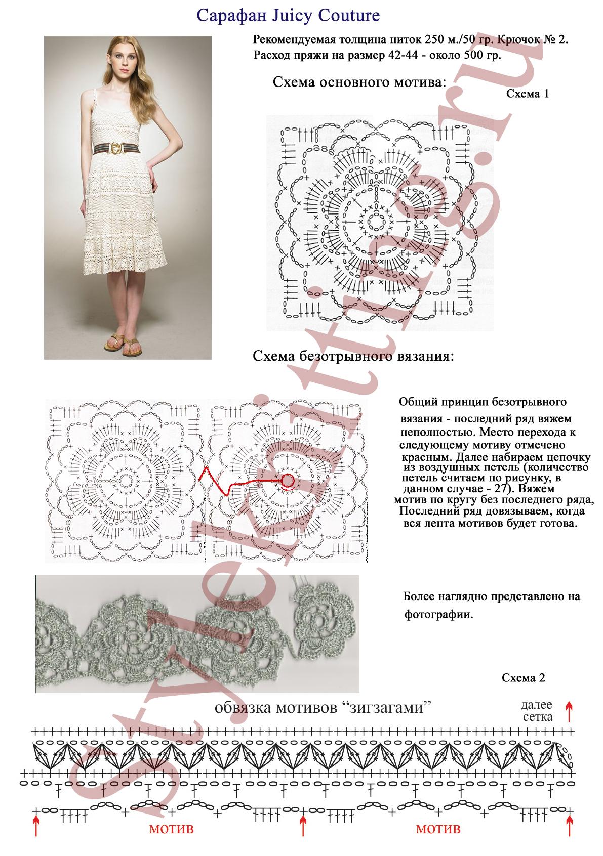 Вязаные подиумные платья крючком со схемами